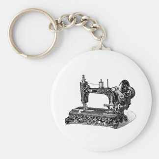 Vintage 1800s Sewing Machine Illustration Basic Round Button Key Ring