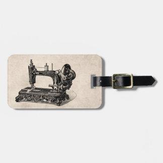 Vintage 1800s Sewing Machine Illustration Luggage Tag