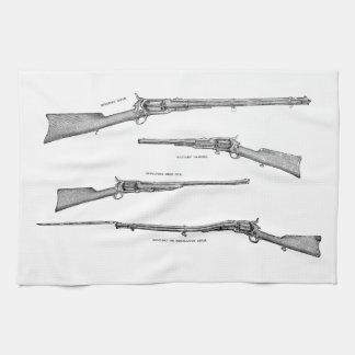 Vintage 1800s Shotgun Antique Shot Guns Old Rifles Tea Towel