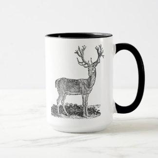 Vintage 1800s Stag Deer Antlers Retro Template Mug