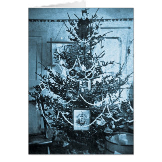 Vintage 1800s Stereoview Christmas Tree Greeting Card