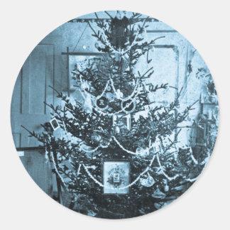 Vintage 1800s Stereoview Christmas Tree Round Sticker