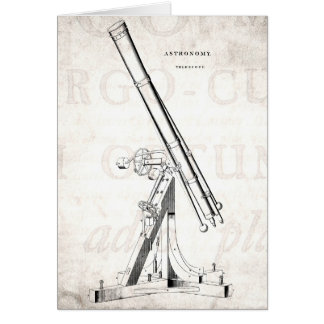 Vintage 1800s Telescope Antique Astronomy Template Greeting Card