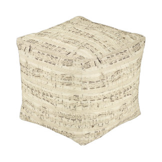 Vintage 1842 Chopin Music Sheet Notes Pouf