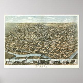 Vintage 1870 Dayton Ohio View Poster