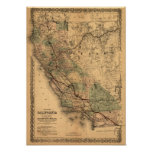 Vintage 1876 California Map Poster