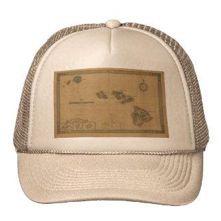 Vintage 1876 Hawaii Map -  Hawaiian Islands Hats