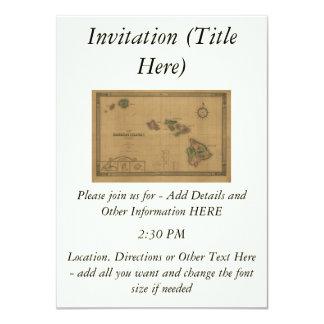 """Vintage 1876 Hawaii Map -  Hawaiian Islands 4.5"""" X 6.25"""" Invitation Card"""