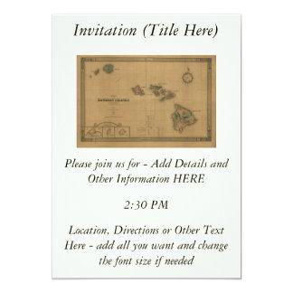 """Vintage 1876 Hawaii Map -  Hawaiian Islands 5"""" X 7"""" Invitation Card"""