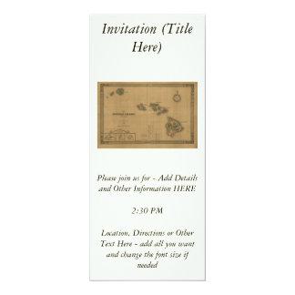 """Vintage 1876 Hawaii Map -  Hawaiian Islands 4"""" X 9.25"""" Invitation Card"""