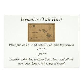 """Vintage 1876 Hawaii Map -  Hawaiian Islands 3.5"""" X 5"""" Invitation Card"""