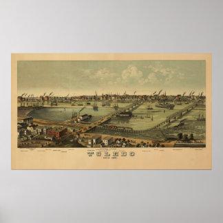 Vintage 1876 Toledo Ohio Map Poster