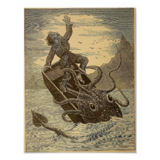 Vintage 1879 Giant Squid Poster