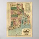 Vintage 1880 Rhode Island Map Poster
