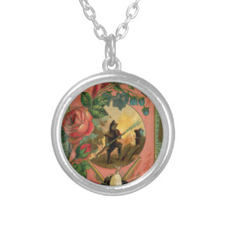 Vintage 1880's Fireman Firefighter Artwork Silver Plated Necklace
