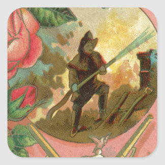 Vintage 1880's Fireman Firefighter Cover Square Sticker
