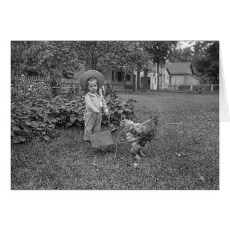 Vintage 1880's Rooster Girl Garden Photo Card