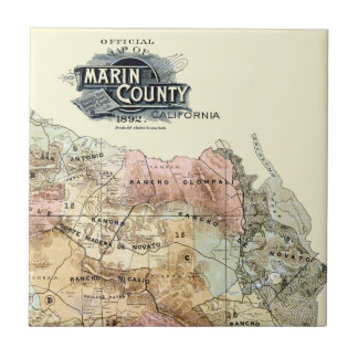 Vintage 1890 Map of Marin County Small Square Tile