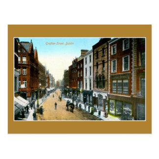 Vintage 1890s color Grafton street Dublin photo Postcard