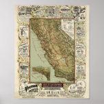 Vintage 1895 California Bicycle Cycling Map Print