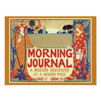 VINTAGE 1895 MORNING JOURNAL NEWSPAPER Cover Copy Poster
