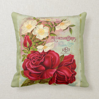 Vintage 1897 Cabbage Rose Seed Catalogue Cushion