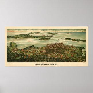 Vintage 1898 Sandusky Ohio Map Poster