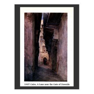 Vintage 1900 Cairo Egypt A Lane Near Zuweyla Postcard