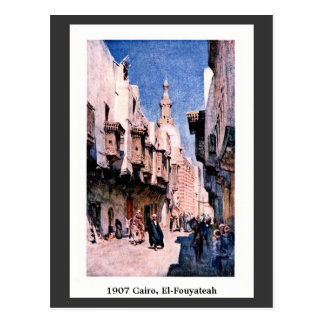 Vintage 1900 Cairo Egypt El-Fouyateah Street Postcard