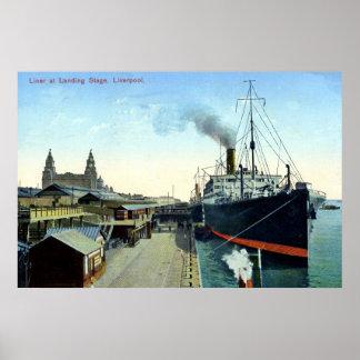Vintage 1900s-1920s Ocean Liner, Liverpool Poster