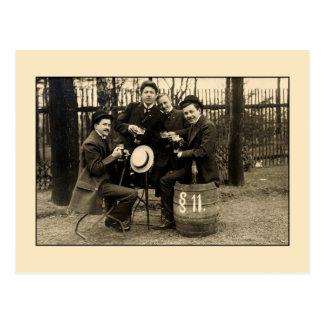 Vintage 1900s beer drinking buddies photo postcard