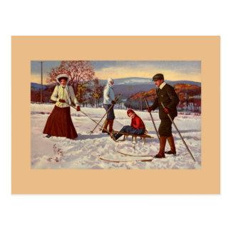 Vintage 1900s winter fun Nordic ski, sled Postcard