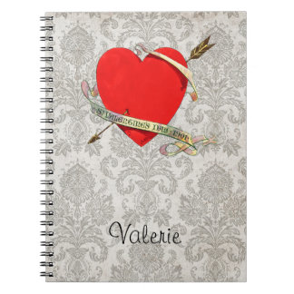 Vintage 1901 Valentine Heartwith Ribbon and Arrow Notebook