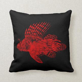 Vintage 1905 Lionfish Scorpionfish Red Lion Fish Throw Pillow