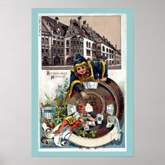 Vintage 1905 Litho Hofbrauhaus Munich Poster