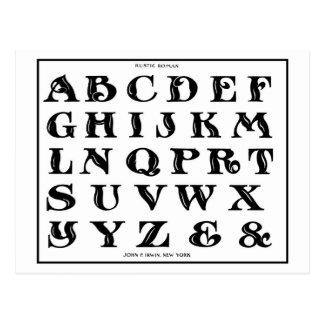 vintage 1906 Alphabet Rustic Roman font Postcard