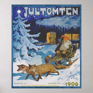 Vintage 1906 Scandinavian Jultomten in Sleigh Poster