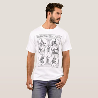 Vintage 1907 Five Stages of Bicycling Art T-Shirt
