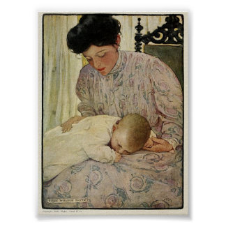 Vintage 1909 Infant in Mother's Arm Willcox Smith Poster