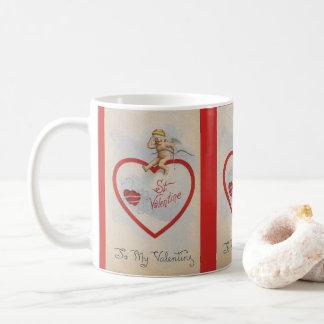 Vintage 1909 St. Valentine Heart with Cute Cherub Coffee Mug