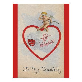 Vintage 1909 St. Valentine Heart with Cute Cherub Postcard