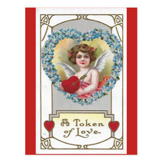 Vintage 1910 Girl Cherub with Blue Flower Heart Postcard