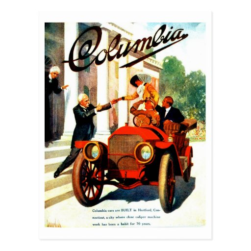 Vintage 1910s Columbia autos poster Postcards