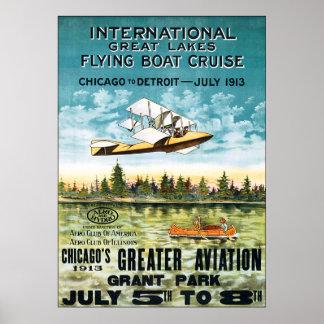 Vintage 1913 Flying Boat Cruise Poster