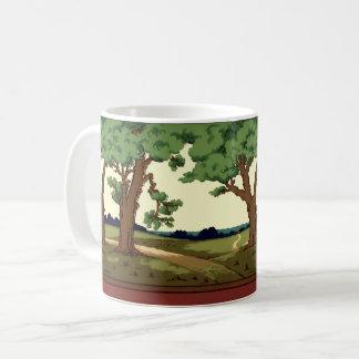 Vintage 1914 Arts And Crafts Style Oak Landscape Coffee Mug