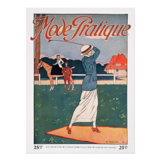 Vintage 1914 French Golf Print