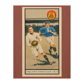 Vintage 1914 Rugby Wood Wall Art Wood Canvas