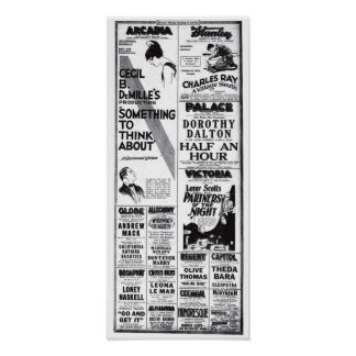 Vintage 1920 movie ads T-shirt Poster