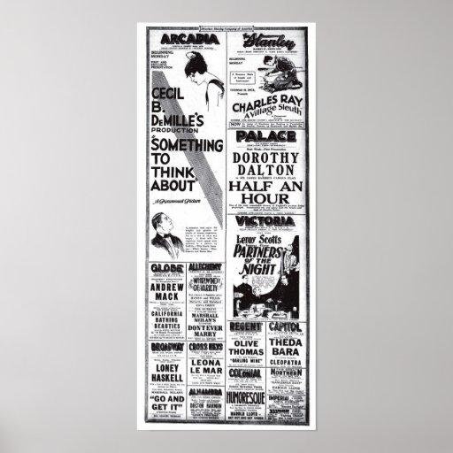 Vintage 1920 movie ads T-shirt Print