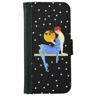 Vintage 1920's Flapper Lady Moon Stars Red Hair iPhone 6 Wallet Case